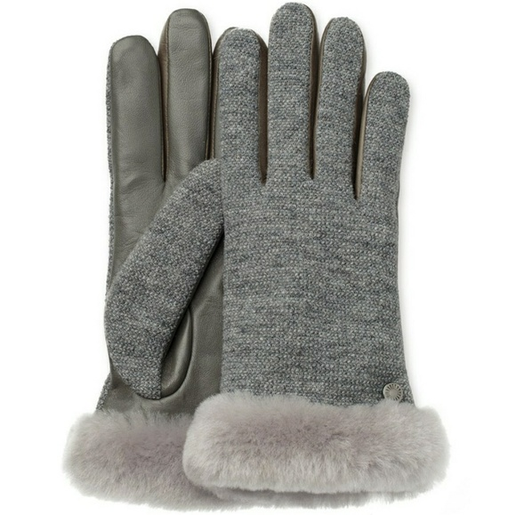 NWOT Gray Leather UGG Smart Gloves Uggs